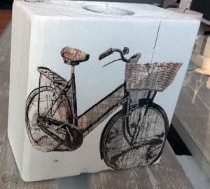 Świecznik rower decoupage